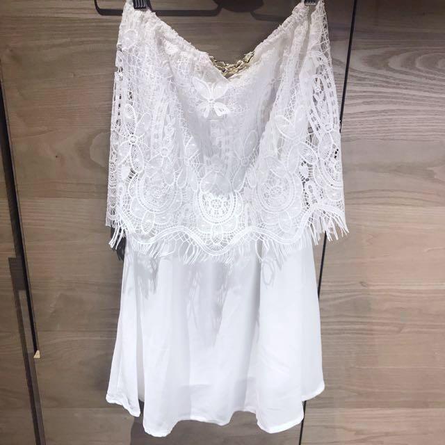 全新白色睫毛蕾絲洋裝