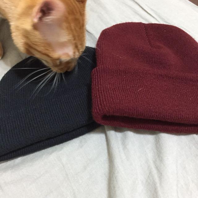 短毛帽 瓜皮帽 黑色毛帽 酒紅毛帽