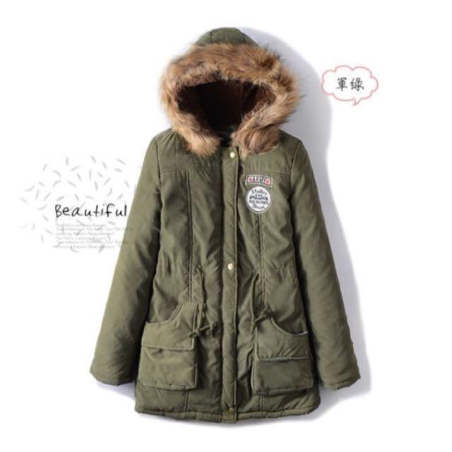 降價‼️全新 連帽軍裝外套 軍綠 毛毛 長版 大衣