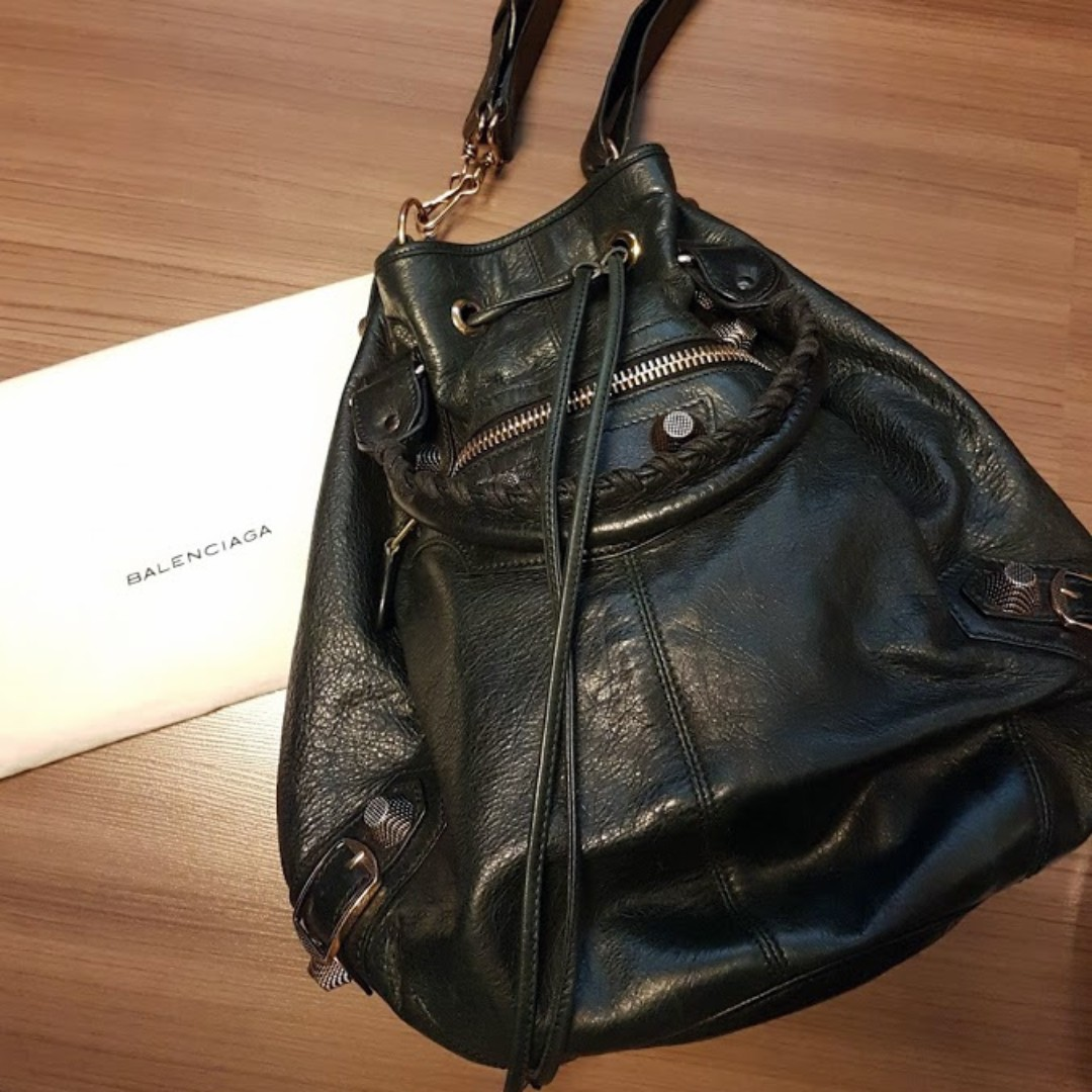 Balenciaga Pompon Black Leather Large Rose Gold Drawstring Bag (Pristine  Condition) 277d6bed0e891