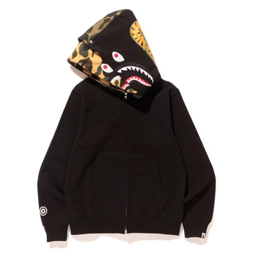 6bbc42746dad BAPE  Shark Full Zip Double Hoodie Black (23 12)