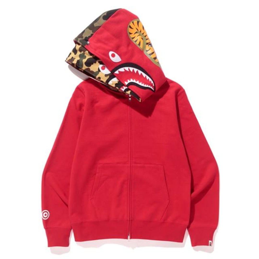 BAPE Shark Full Zip Double Hoodie Red 23 12 Mens Fashion