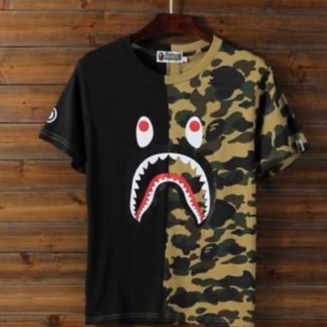 6b548315 Mens Bathing Ape Shark T Shirt
