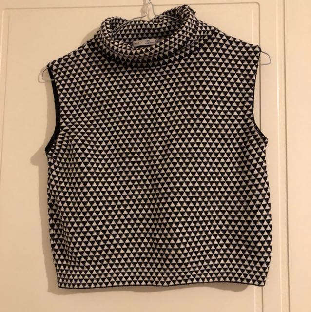 Black and White High Neck Crop Top