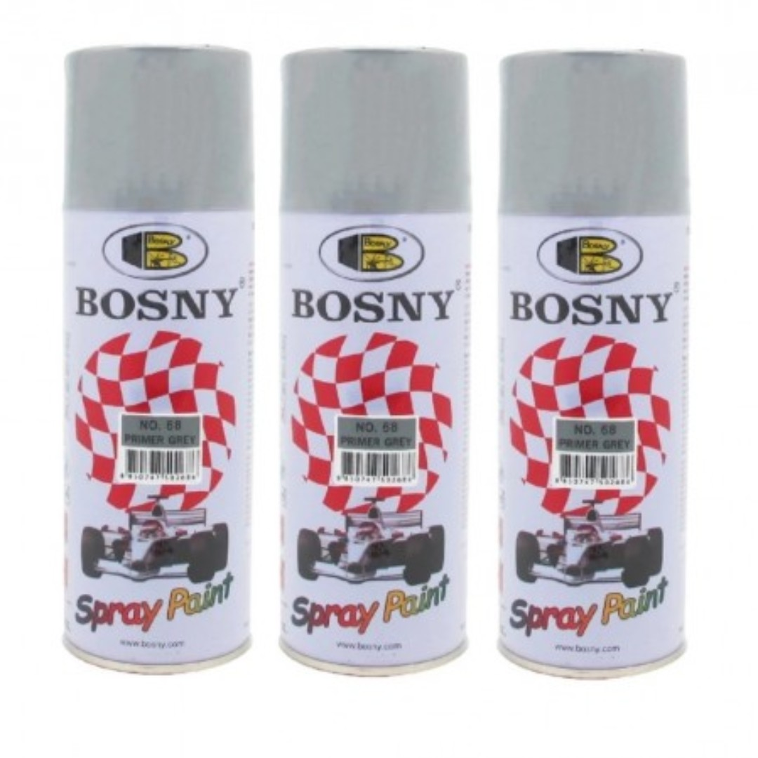 Paint And Primer Spray Paint Part - 20: Bosny No.68 Spray Paint Primer Grey (Bundle Of 3), Auto Accessories U0026  Others On Carousell