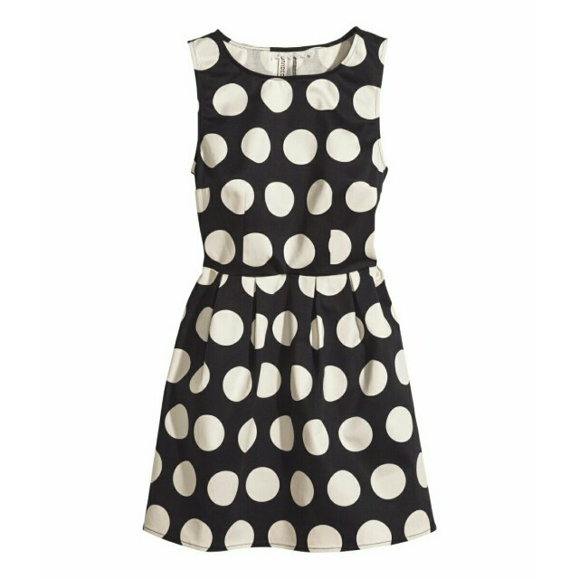3ec834e6c3 Brand New H&M Black with White Polka Dots Sleeveless Dress, Women's ...