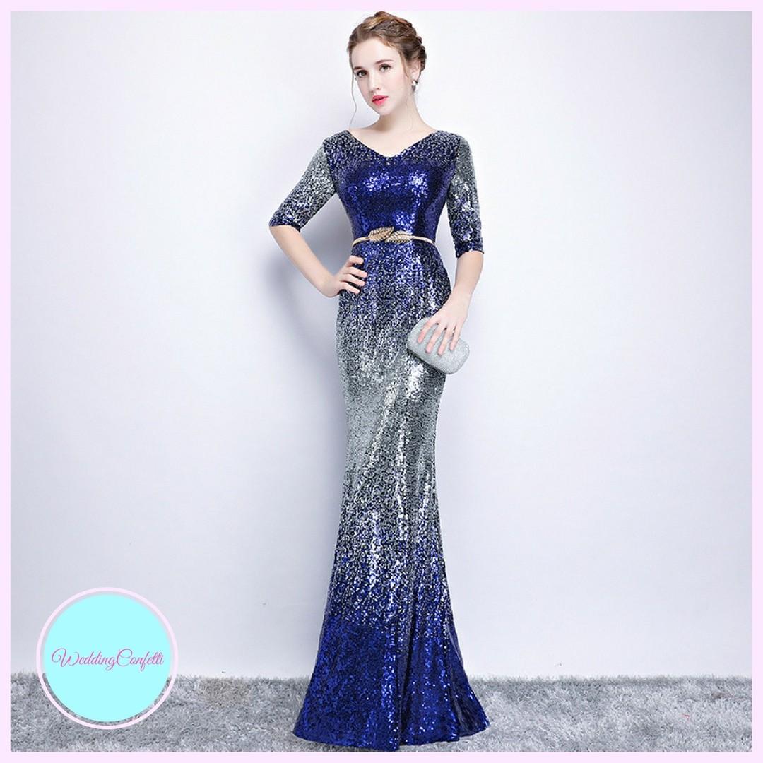 Brand New* Pandora Wedding Bridal Long Sleeves Glitter Sequins Blue ...
