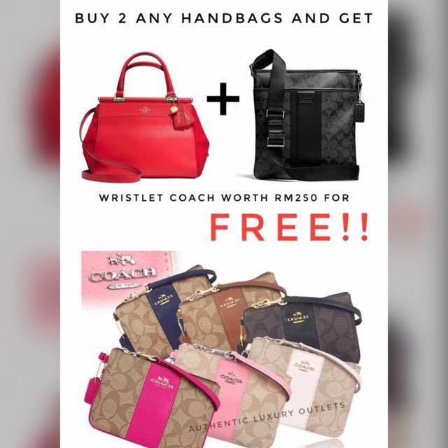 Buy 2 Bag Coach FREE Wristlet Coach