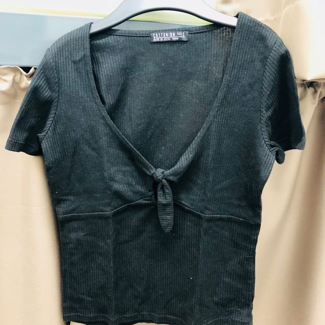 Cotton On Black Low Cut Knot Top