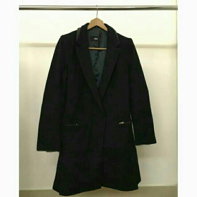 DIA正韓毛料西裝外套 長大衣 黑色 90%含毛量 羊毛 俐落翻領 拉鍊 韓國製