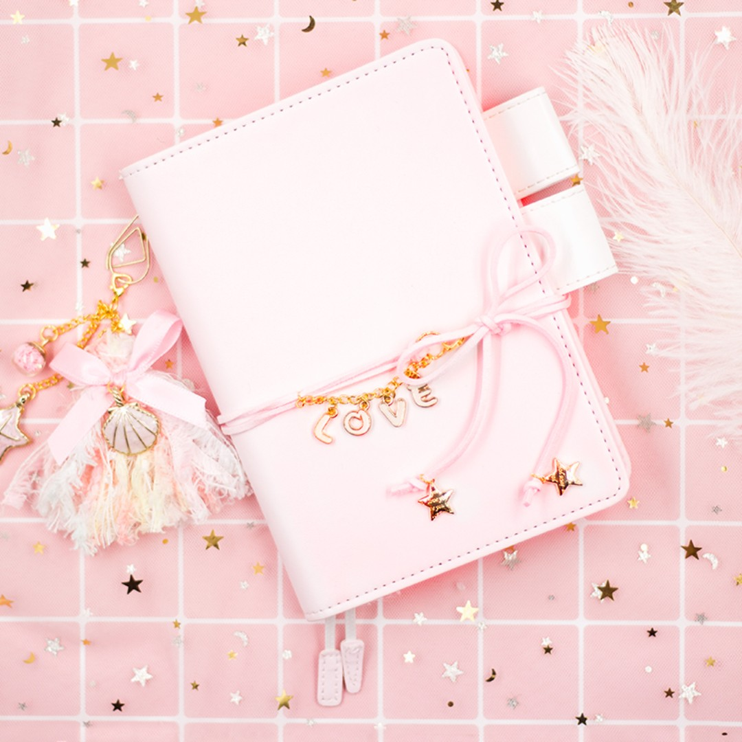 Fantasy Dreamy Pink and White PU Notebook