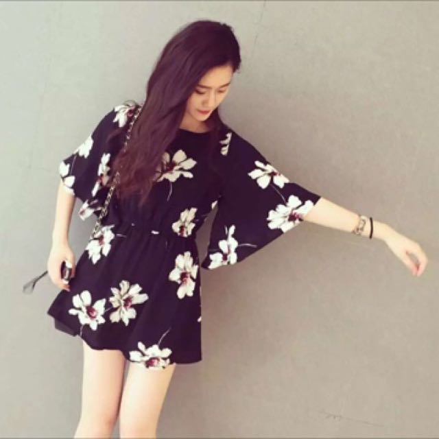 Flower Black Dress