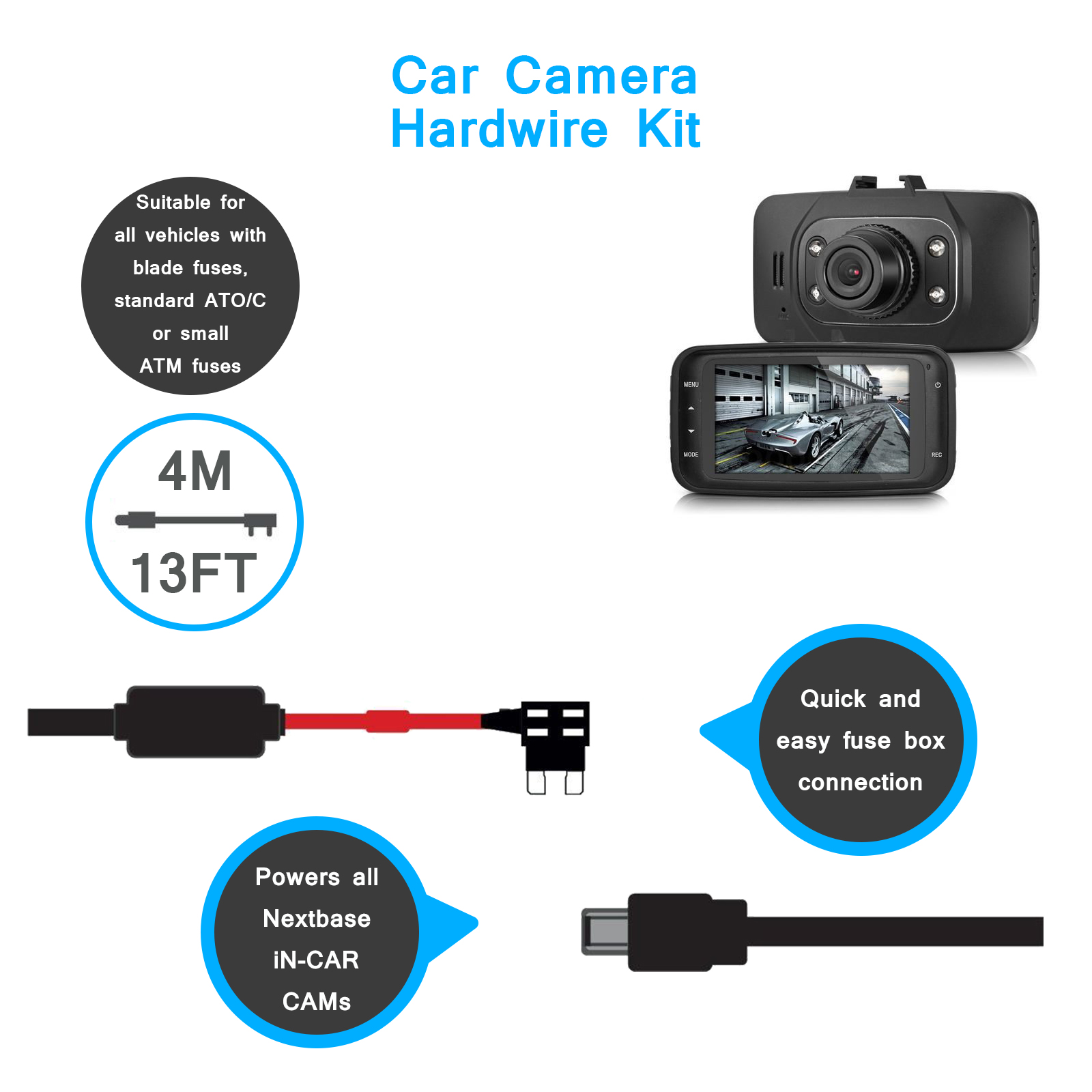 Gad0304bk Newest Hard Wire Kit Car Dash Cam Camera Spy Tec Fuse Box Usb And More Accessories On Carousell