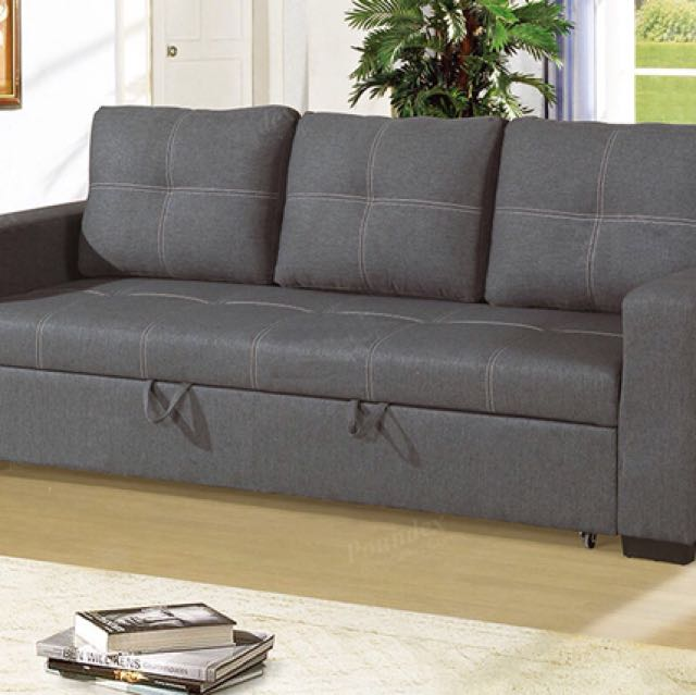 Grey Polyfiber Convertible Sofa Bed
