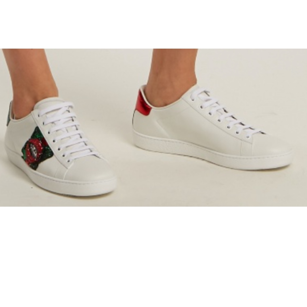 7a9a4e418ea GUCCI NEW ACE LIPS-EMBELLISHED LEATHER TRAINERS