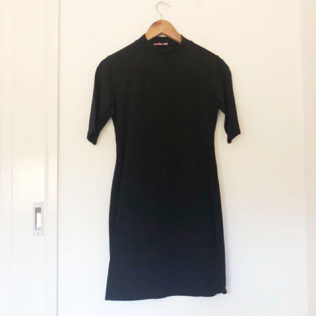 High Neck Black Dress