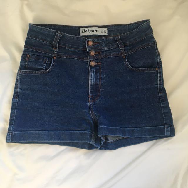 High-Waisted blue denim shorts