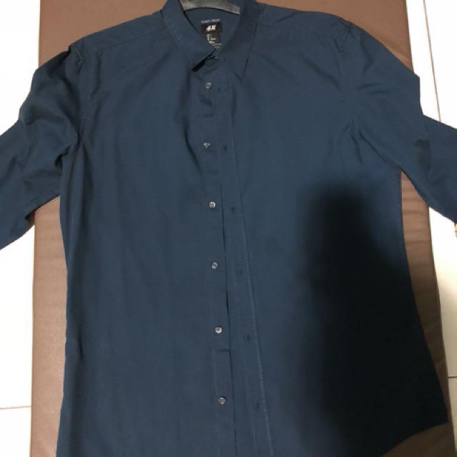 H&M easy iron series Shirt Navy L