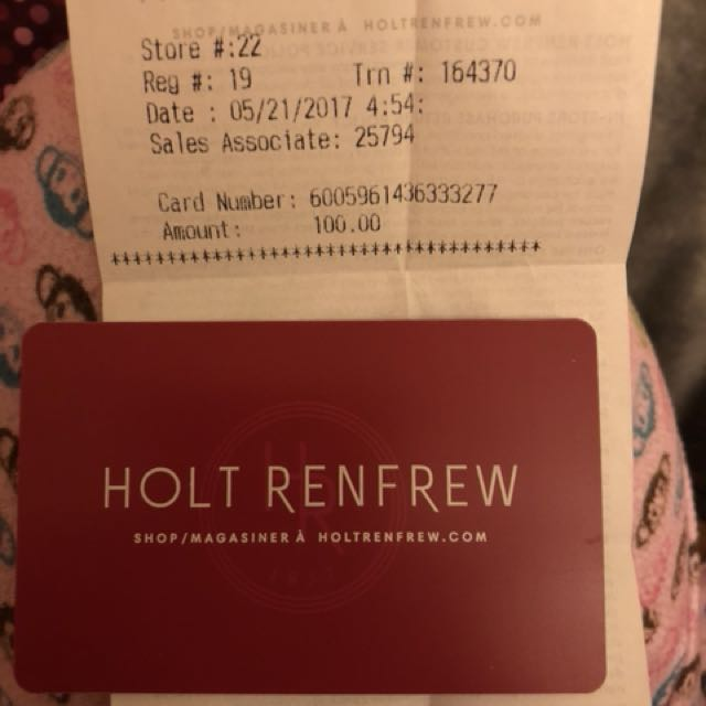 Holt Renfrew gift card $100