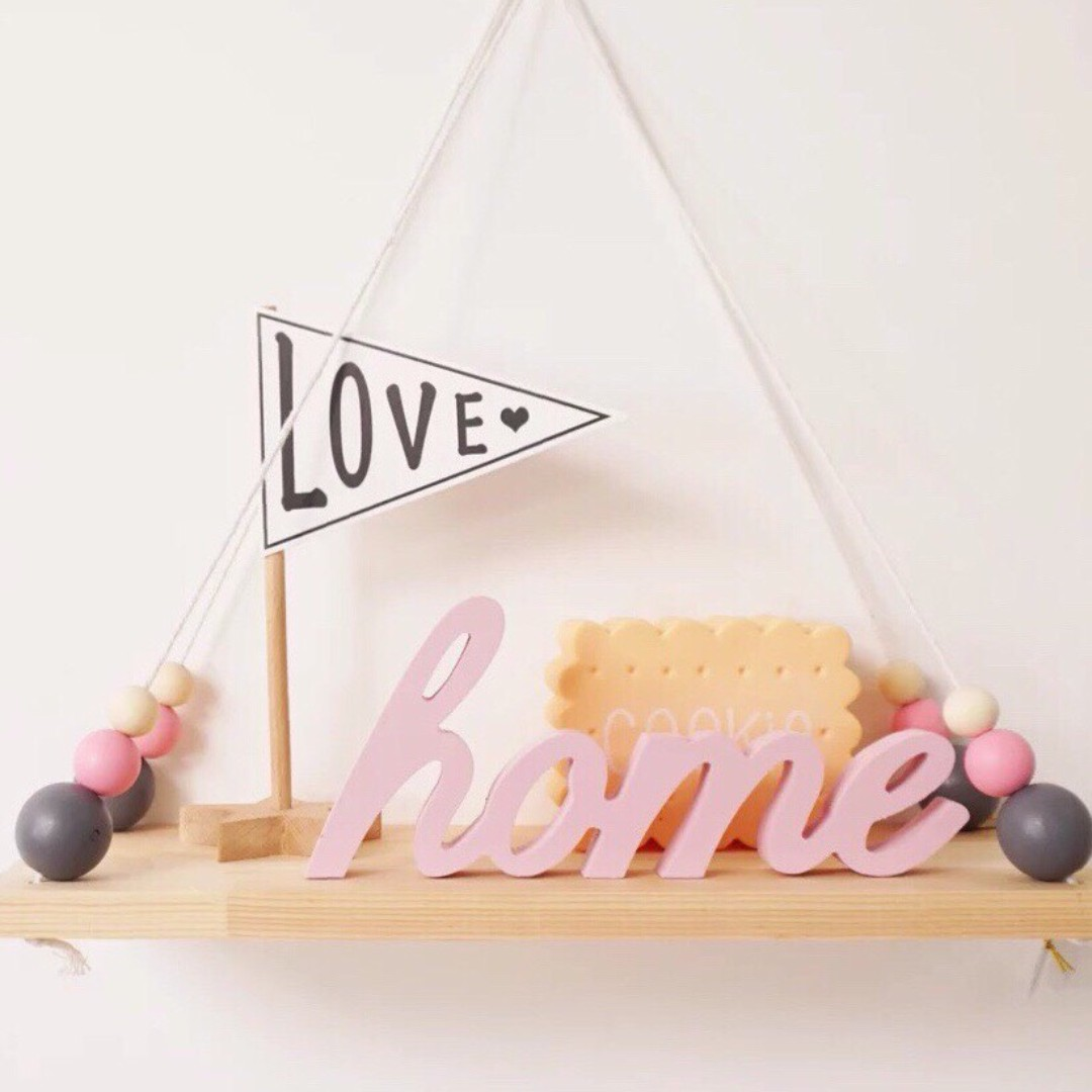 HOME Romantic Rustic Wooden Pink Sign