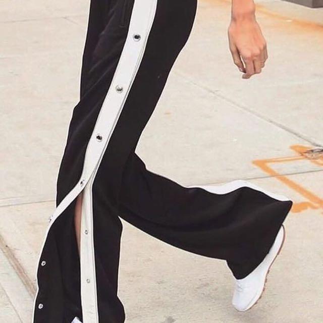 h&w black n white pants
