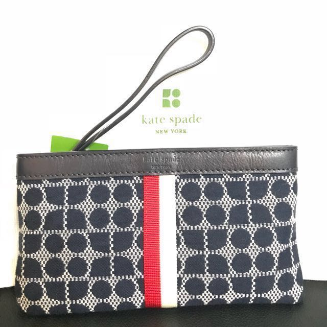 Kate Spade Classic Noel Navy Wristlet Authentic