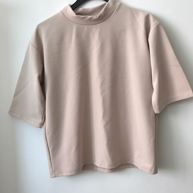 016c3b6438d72a Korean Nude High Neck Top, Women's Fashion, Clothes, Tops on Carousell