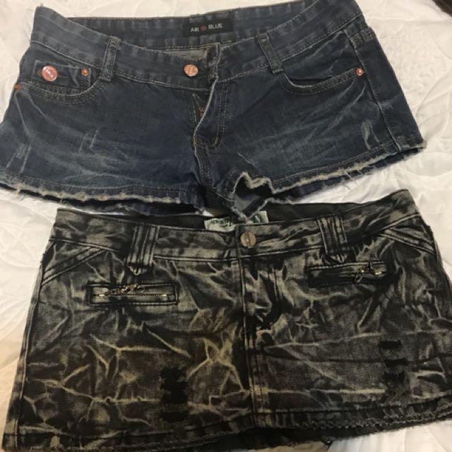 L號 牛仔短褲 牛仔短裙  牛仔褲裙 低腰 m可穿 褲裙