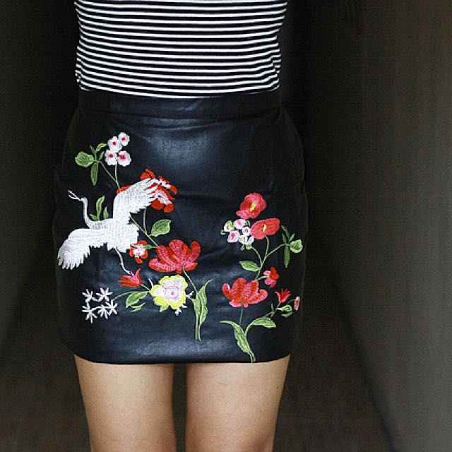 Leather Embroidered Mini Skirt