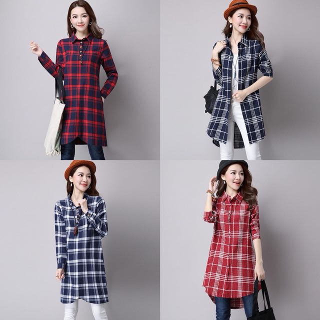Design Of Long Shirts | Leisure Casual Grid Pattern Designs Simple Ladies Long Sleeve