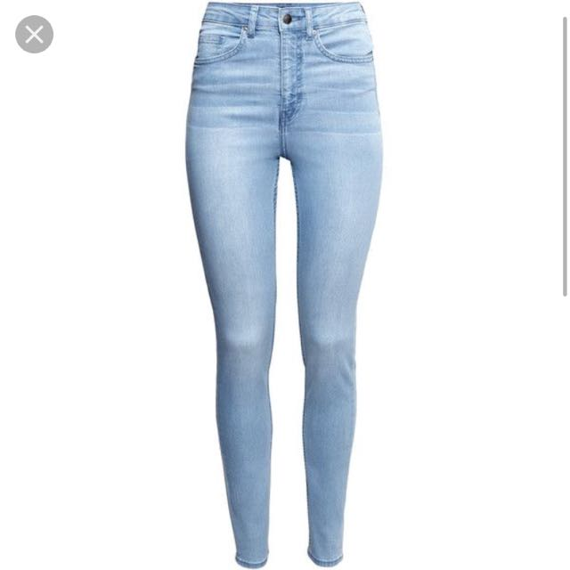 32a3497603e light blue denim high waisted skinny jeans