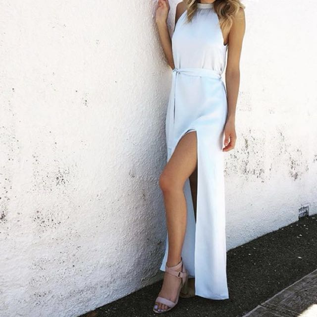 Light blue longe dress with split