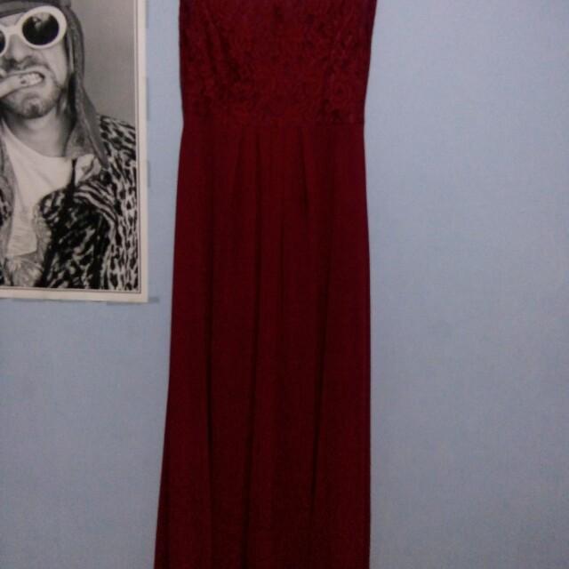 Long dress slaveles maroon
