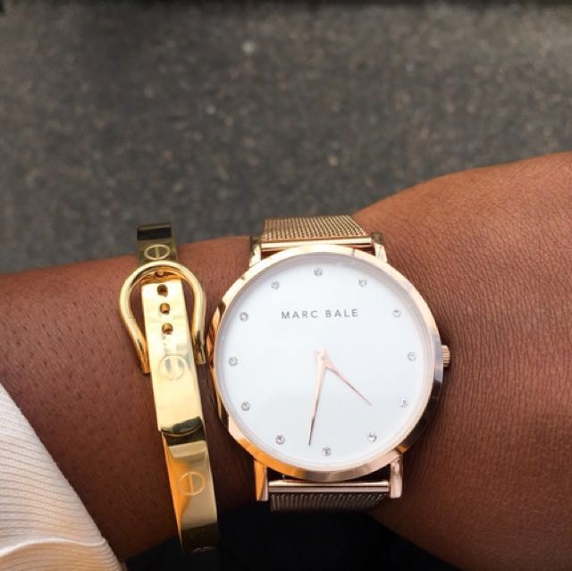 MARC BALE Rose Gold Crystal Watch + Extra Rose Gold Mesh Strap