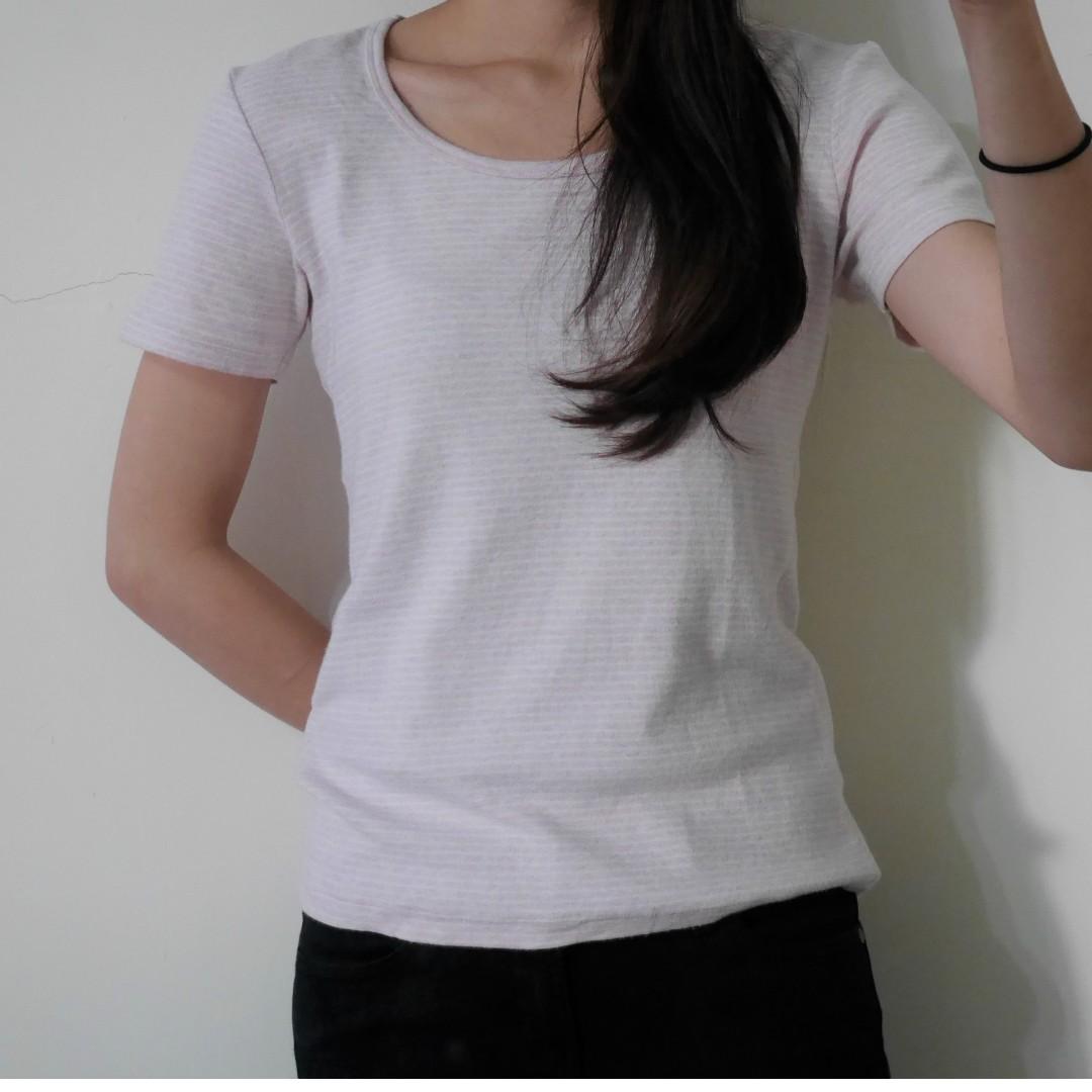 MUJI 家居舒適粉x白條紋短袖上衣