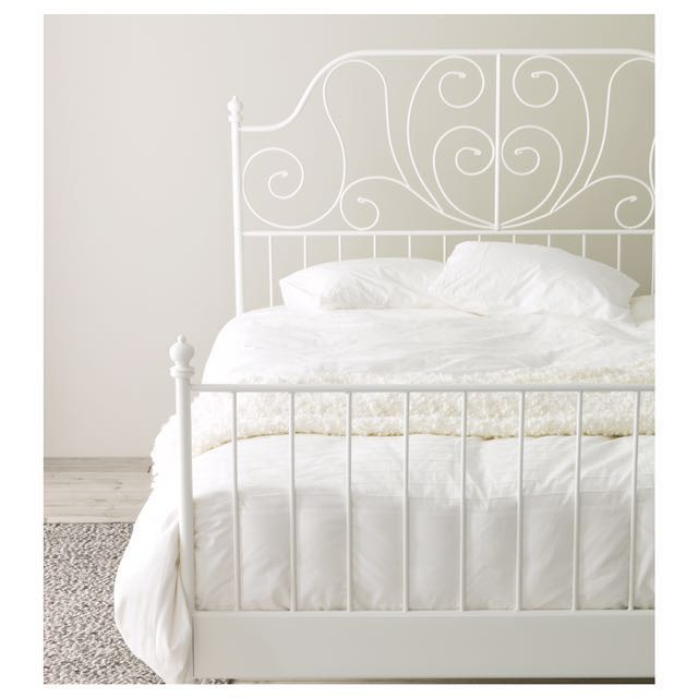 Must Go Ikea White Wire Bed Frame And Mattress Furniture Beds