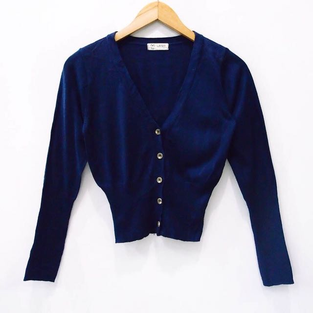 navy buttoned cardigan