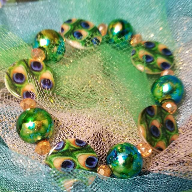Peacock Disc Bracelet