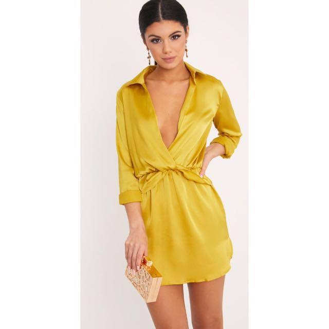 Pretty Little Thing Front Twist Silky Shirt Dress