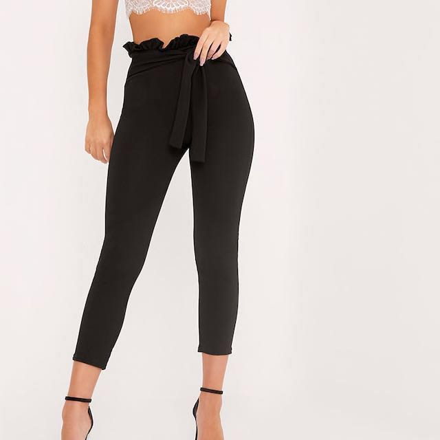 Pretty Little Thing Perlita Black Paperbag Skinny Trousers