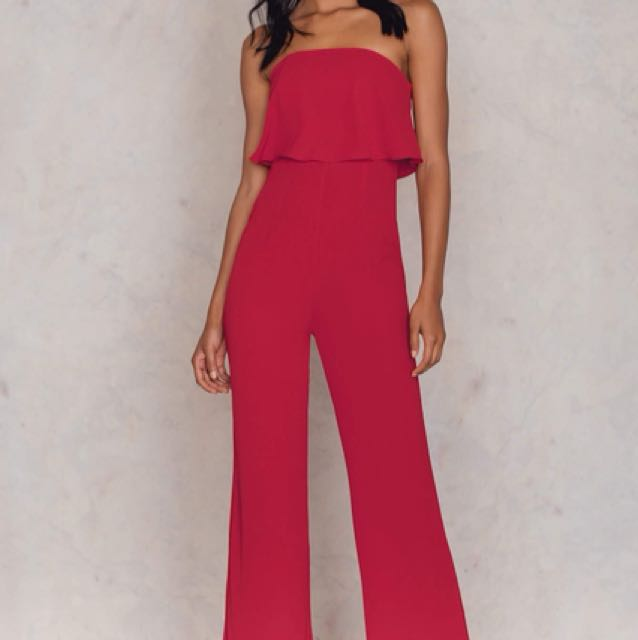 Red Jumpsuit Bandeau Strapless Wide Leg