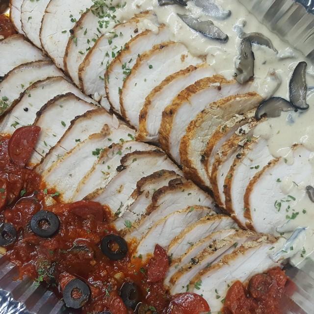 Roast Porkloin With Chorizo Tomato Sauce and Shitake Mushroom Cream