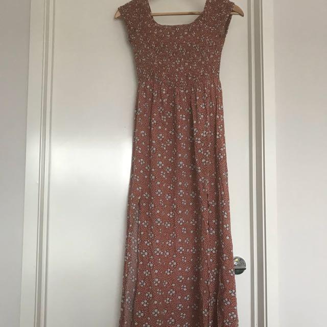 Rust coloured floral maxi dress