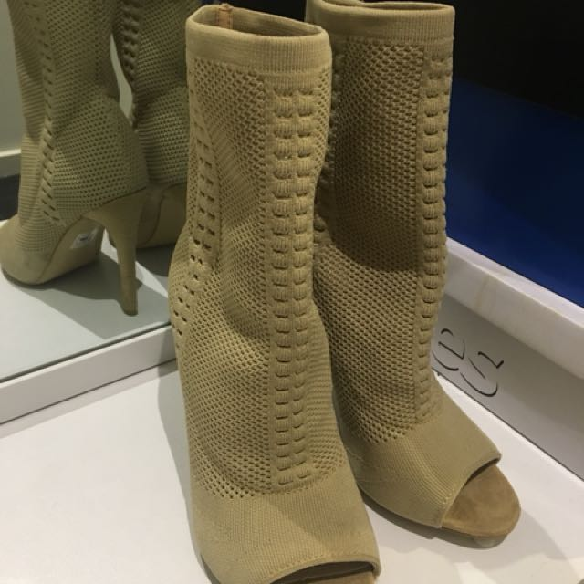 Sexy open toe nude boot shoe size 7