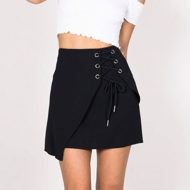 Showpo high waisted black skirt
