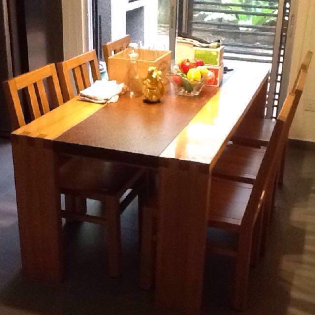 Solid Teak With Granite Dining Table Set Johor Bahru