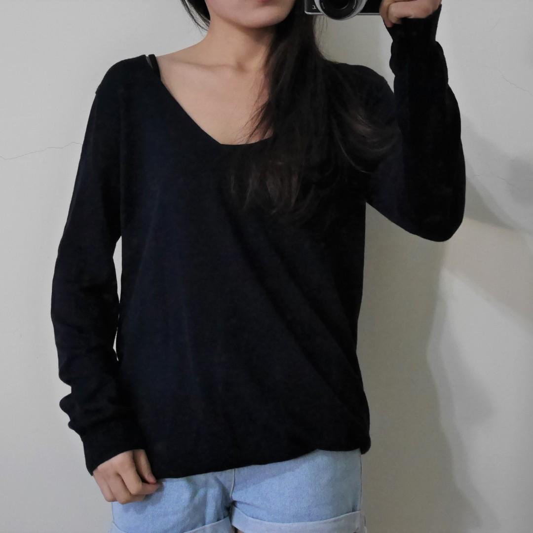 韓/深藍薄針織V領上衣
