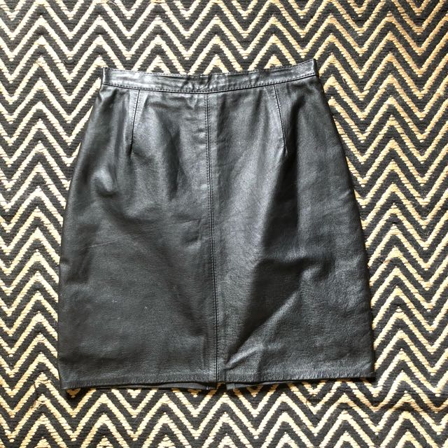 Vintage High waisted Real Leather Skirt
