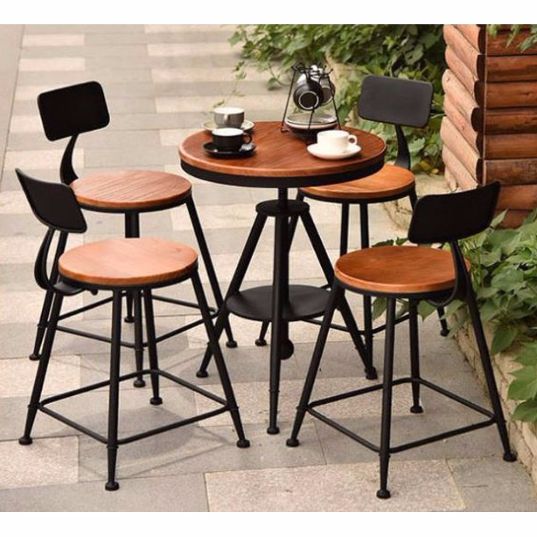 Wrought Iron And Solid Wood Outdoor Table Chairs Set Furniture
