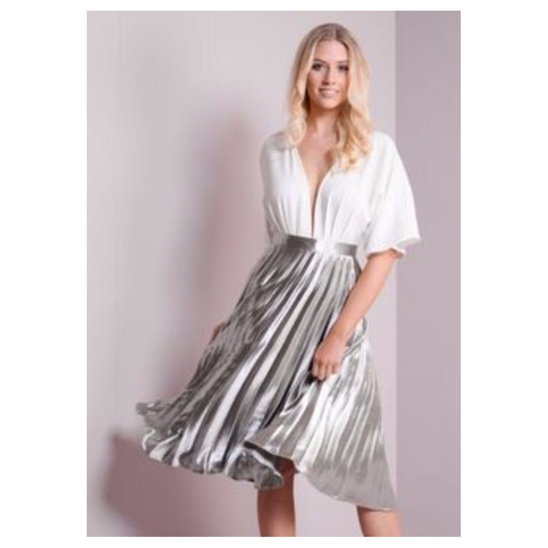 6aaa87b8b64b BNWT Bershka finely pleated metallic accordion midi/maxi skirt ...